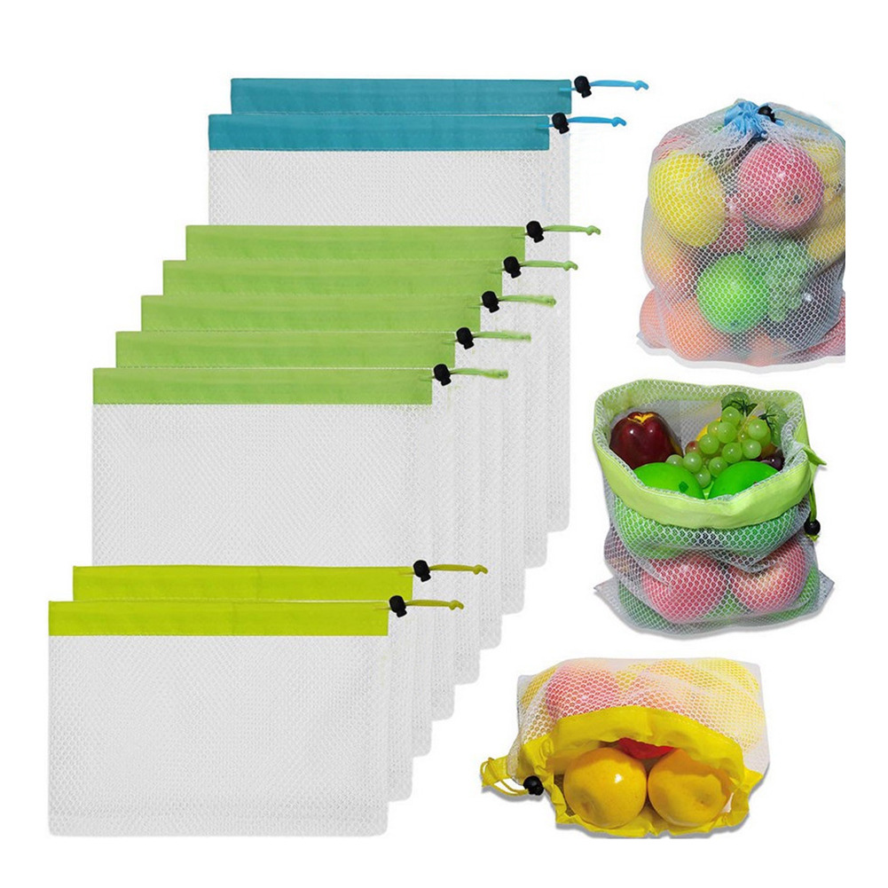 Kitchen Reusable Vegetable Fruit Grocery Storage Drawstring Mesh Bags Pouch