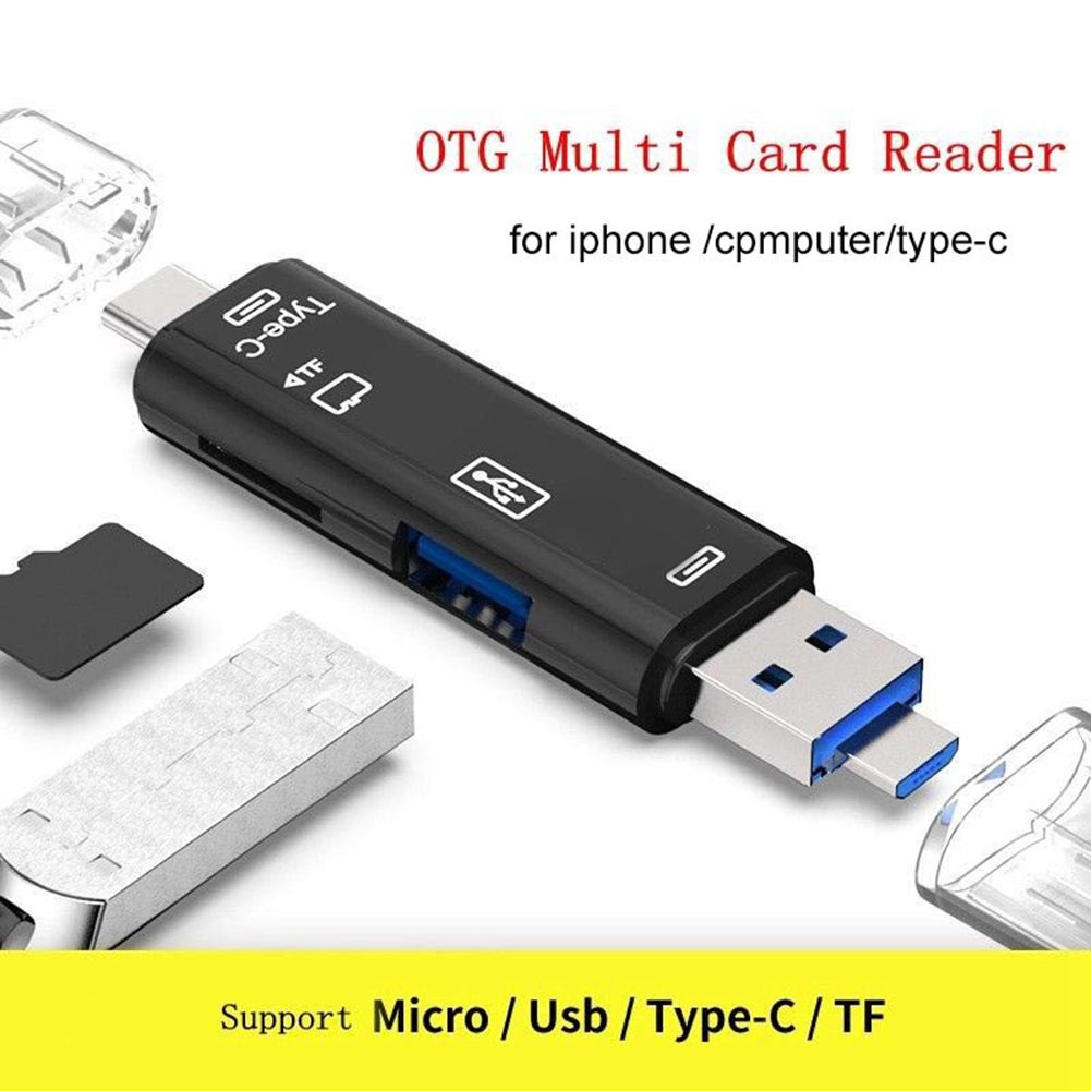 5 in 1 USB 3.0 Type-C Micro OTG TF Micro Security Digital Card Reader Adapter